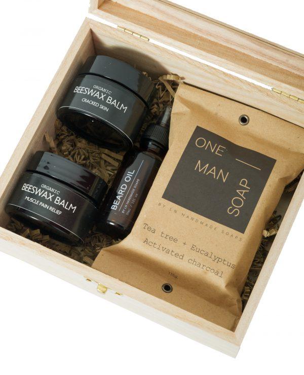Men's Skin Care Set (Cracked Skin Beeswax Balm, Muscle Pain Relief Beesxaw Balm, Beard Oil, Tea Tree + Eucalyptus Activated Carcoal Soap)