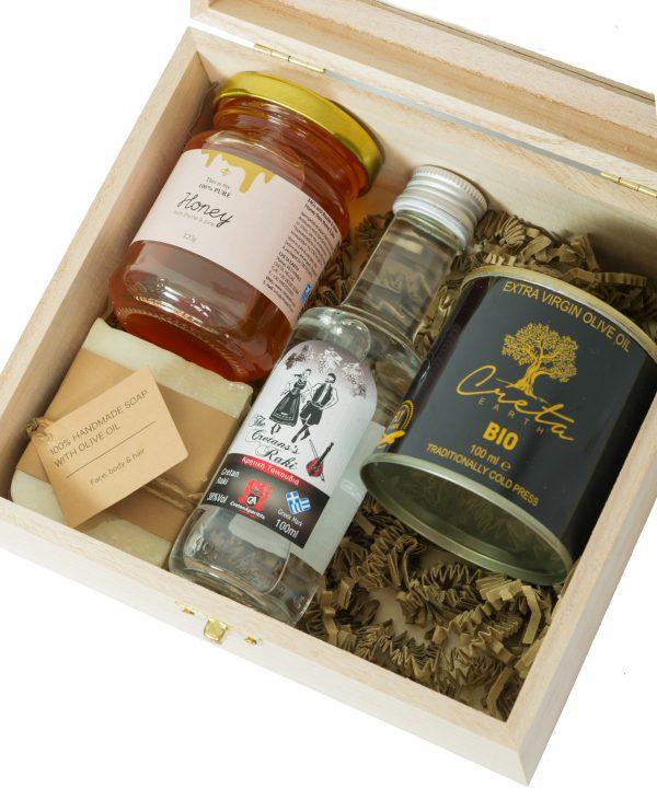 Set of 4 Cretan Products (Honey, Raki, Extra Virgin Olive Oil, Olive Oil Handmade Soap)