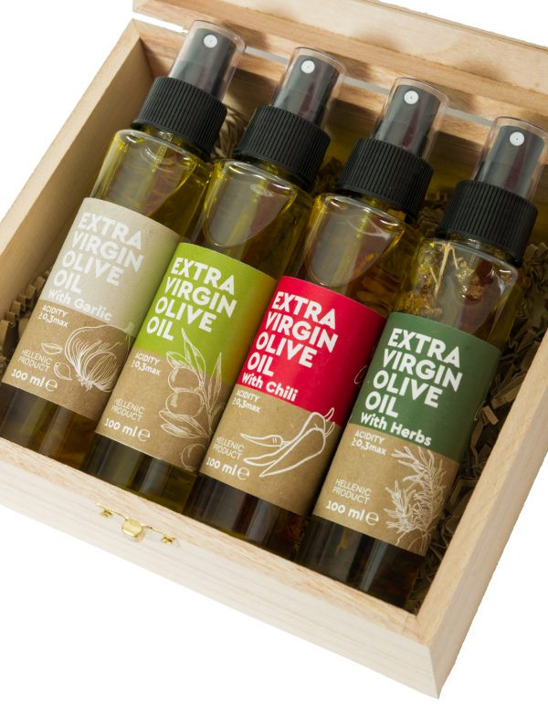 Set of 4 Extra Virgin Olive Oil Spray (With Garlic, Original, With Chili, With Herbs)